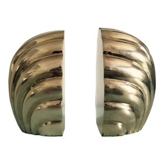 Gumps Brass Shell Bookends - A Pair