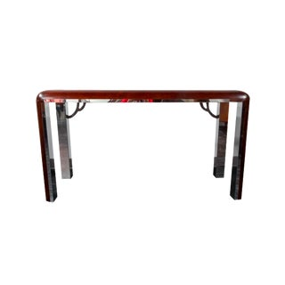 Art Deco Burl Wood And Chrome Console Table