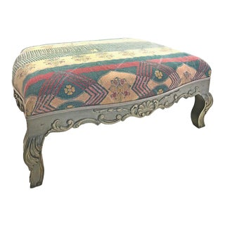 Sarreid Ltd Kantha Blanket Upholstered Ottoman