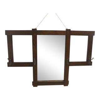 Antique Mission Oak Wall Mirror Clothes Rack