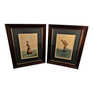 Framed Vintage Golf Figurative Prints - A Pair