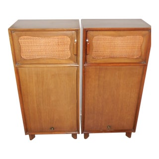 Hickory 50's Mahogany Nightstands Woven Cane Door - Pair