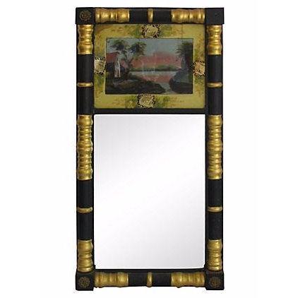 Vintage Sheraton-Style Verre Eglomisé Gilt Mirror - Image 1 of 3