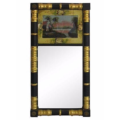 Image of Vintage Sheraton-Style Verre Eglomisé Gilt Mirror