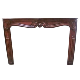 A French Regence Carved Walnut Wood Mantel