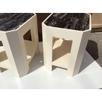 Image of Black Marble Top Side Tables - A Pair