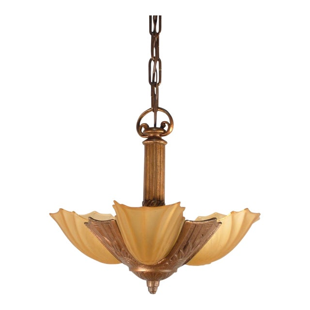 Art Deco Pendant Fixture (3-Light) - Image 1 of 6