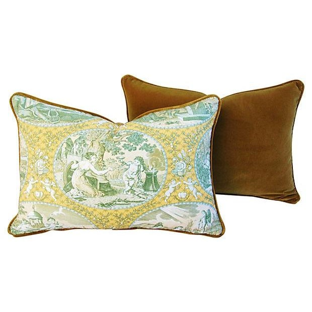 Italian Scalamandre Cupido Toile Pillows - A Pair - Image 4 of 6