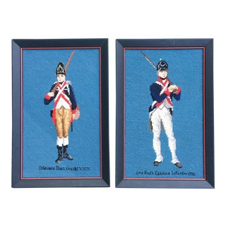 Vintage Framed Needlpoint Revolutionary War Soldiers - A Pair