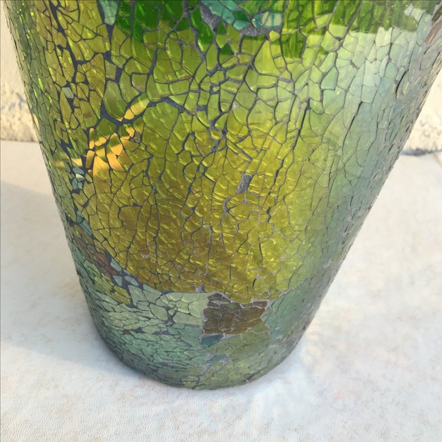 Tall Crackle Glass Vase - Image 8 of 10