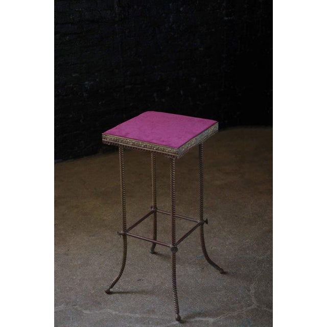 Antique 20th C. Altar Plum Velvet Table or Plant Stand - Image 9 of 9