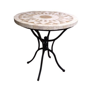 Iron and Tumbled Marble Side Table