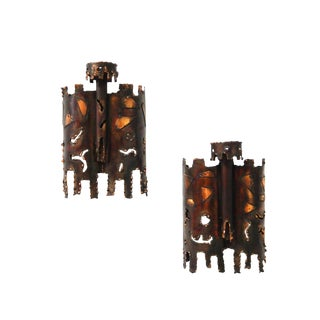 Mid-Century Torch-Cut Metal Sconces - A Pair