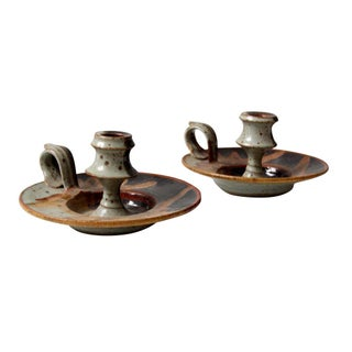 Mid-Century Studio Pottery Candle Holders - A Pair
