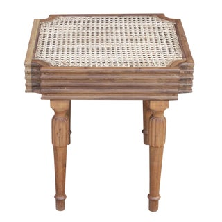 Teak & Cane British Colonial Side Table