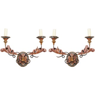 Painted Iron Sconces - A Pair