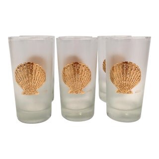 70's Culver Gold Shell Glasses - Set of 6