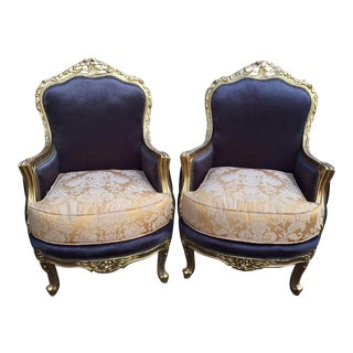 Louis XVI Cotton & Silk Chairs - A Pair