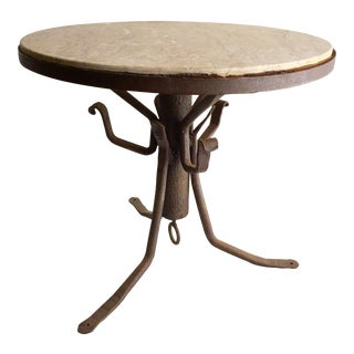 Antique Hand Forged Iron & Marble End Table