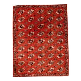 Vintage Red Turkman Rug - 9″ × 12″