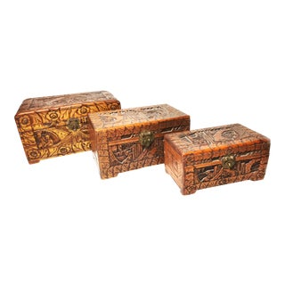 Antique Hand Carved Camphor Boxes / Chests - Set of 3
