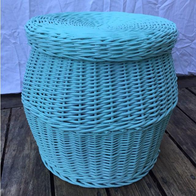 Image of Vintage Turquoise Lidded Wicker Basket