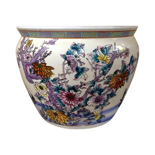 Handpainted Chinese Porcelain Fishbowl Planter