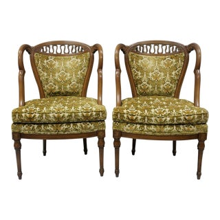Vintage Hollywood Regency French Style Squiggle Loop Back Chairs - A Pair