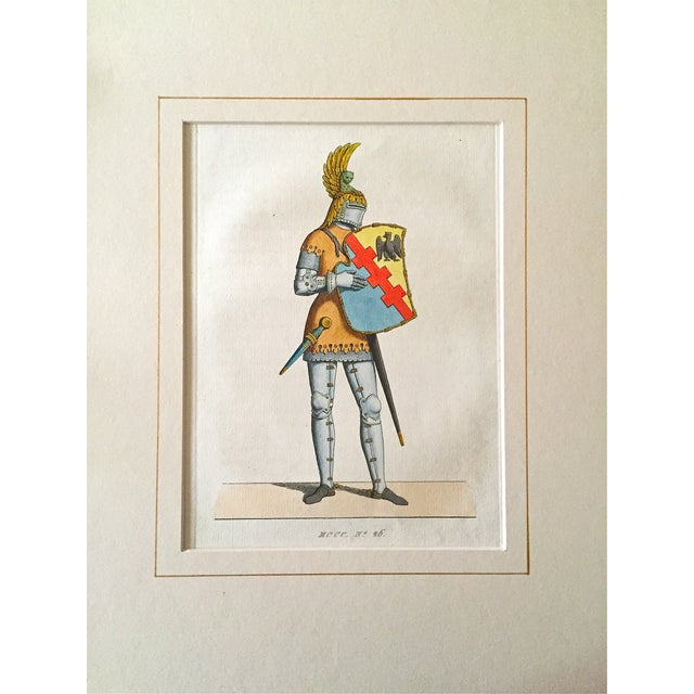 Antique 1842 Knight in Armor Color Etching - Image 1 of 3