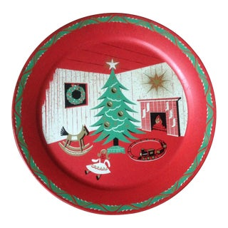 Mid-Century Metal Christmas Tray