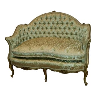 French Tufted Green Settee