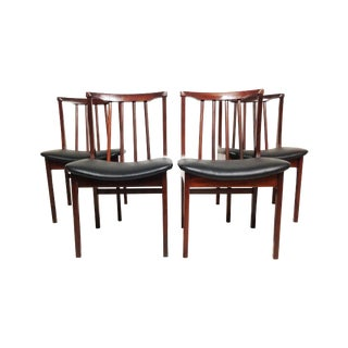 Mid Century Modern Chairs, Black Vinyl Cushion - 4