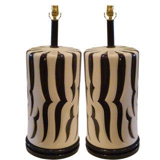 Monumental Pair Tony Duquette Style Zebra Stripe Mid Century Table Lamps.