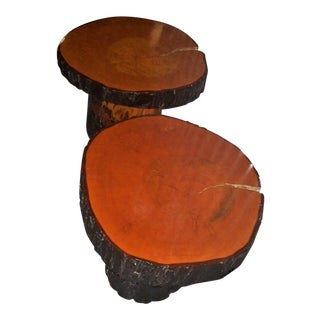 Rustic Style Maple Wood & Cross Section Table Tops - A Pair