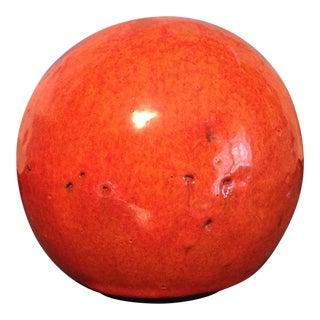 Studio-Made Orange Glazed Clay Sphere