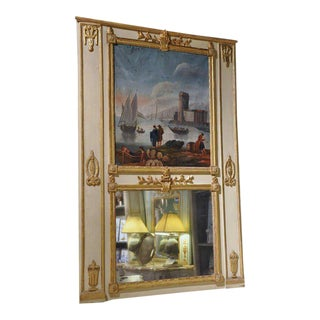 18th Century French Louis XVI Painted & Gilt Trumeau Mirror from Versailles