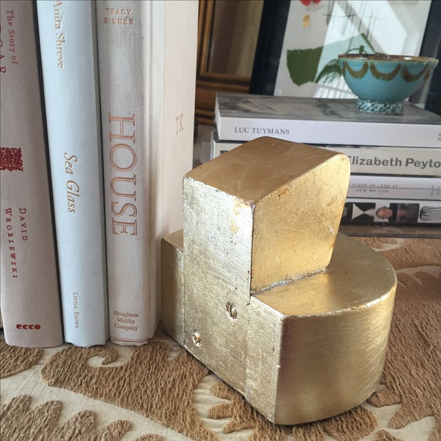 Vintage Gold-Leaf Deco Bookends - Pair - Image 4 of 4