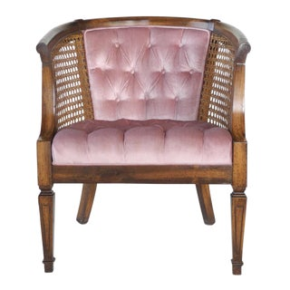 French Provincial Tufted Cane Barrel Chair