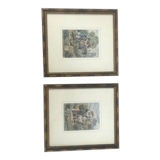 "French Engravings ""The Stubborn Mule"" & ""The Faithful Dog"" - A Pair"