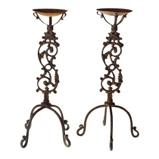 Early Wrought Iron Candle Holders - A Pair