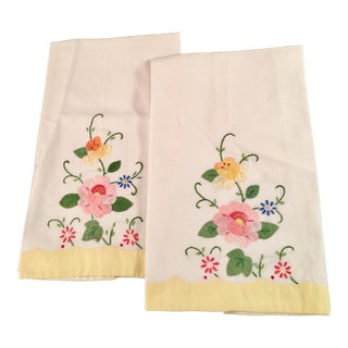 Floral Embroidered Tea Towels - A Pair