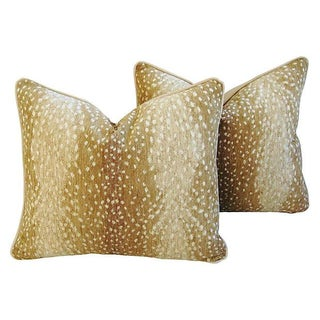 Designer Antelope Fawn Spot Velvet Pillows - Pair