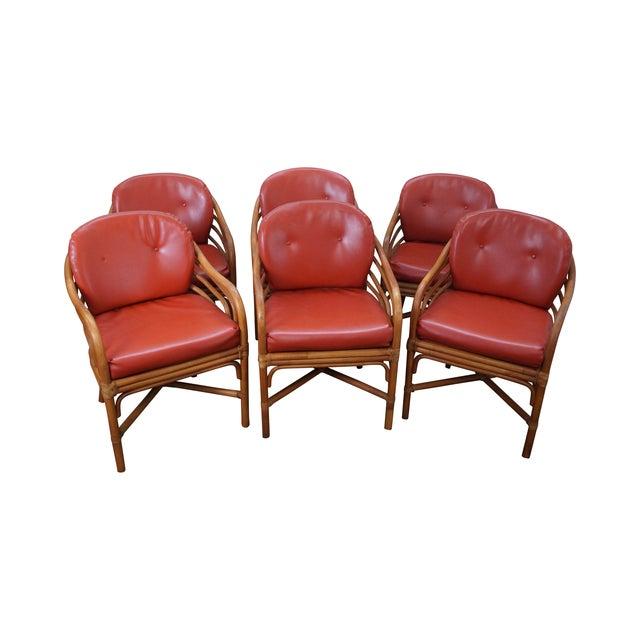 Brown Retro Jordan Rattan Dining Chairs - Set of 6 - Image 1 of 10