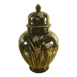 Black Japanese Floral Ginger Jar