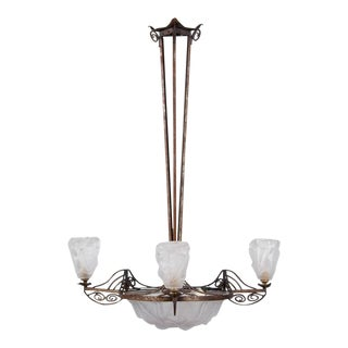 French Art Deco Chandelier signed Degue, 1930s
