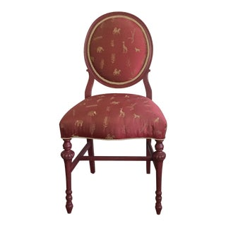 Newly Upholstered Safari Silk Round-Back Side Chair