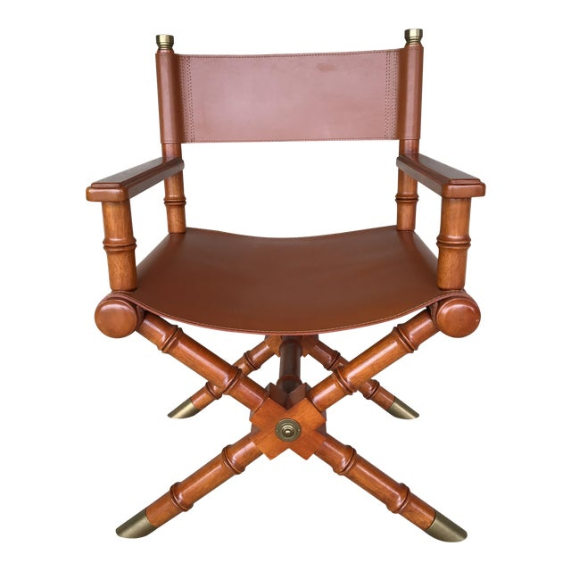 Faux Bamboo Leather Directors Chair W/ Brass Accents - Image 1 of 8