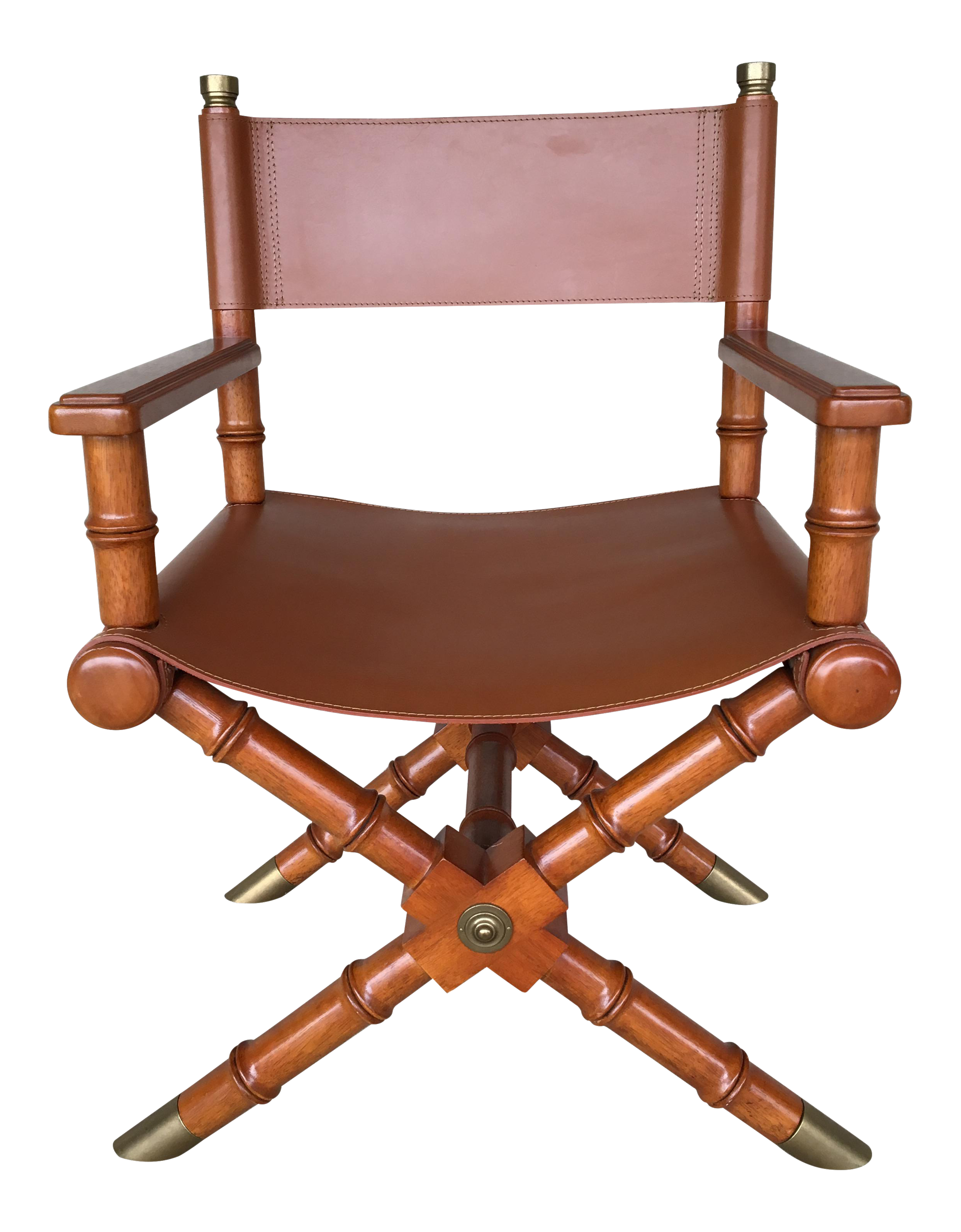 faux bamboo leather directors chair w brass accents