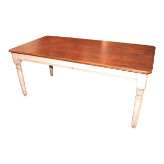 Fantastic 20th Century Handmade and White Painted Base Harvest Table