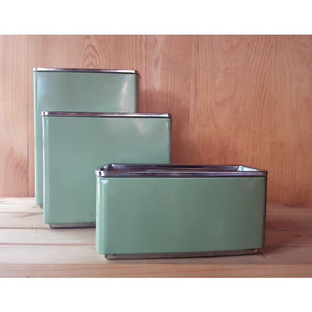 Vintage Avocado Green Kitchen Canister - Set of 3 - Image 4 of 7